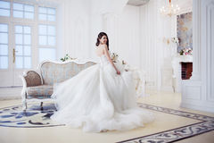 Portrait of beautiful laughing bride. Wedding dress with open back. Luxurious light interior stock photos