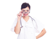 Portrait of beautiful laughing female doctor Royalty Free Stock Image