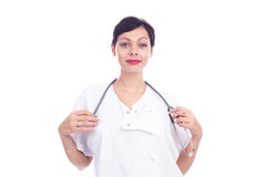 Portrait of beautiful laughing female doctor Stock Image