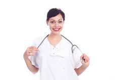 Portrait of beautiful laughing female doctor Royalty Free Stock Images