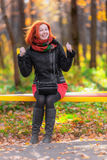 Portrait of beautiful laughing red-haired woman Royalty Free Stock Photography