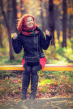 Portrait of beautiful laughing red-haired woman Royalty Free Stock Images