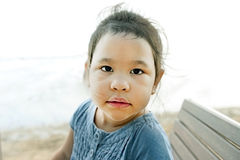 Portrait of a beautiful liitle girl close-up Royalty Free Stock Photography