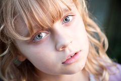 Portrait of beautiful little blond Russian girl Royalty Free Stock Photos
