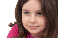 Portrait of beautiful little girl. Isolated on white background Stock Photography