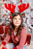 Portrait of a beautiful little girl at Christmas Stock Images