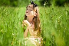 Portrait of beautiful little girl in elegant dress in green summer field. Portrait of beautiful little girl in elegant dress in middle of green summer field royalty free stock photos