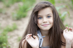 Portrait of beautiful little girl frog Royalty Free Stock Image