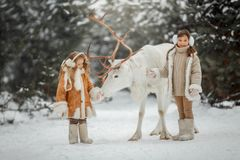 Portrait of beautiful Little girl in fur coat at winter forest royalty free stock image