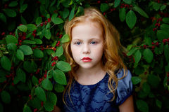 Portrait of beautiful little girl of leaves cherries Royalty Free Stock Photo