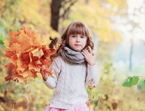 Portrait of beautiful little girl with maple leaves Royalty Free Stock Photography
