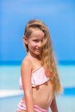 Portrait of beautiful little girl outdoor on beach Stock Images