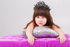 Portrait of beautiful little girl in pink Princess dress with cr Stock Photography