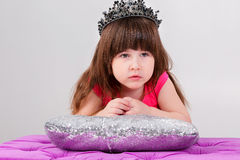 Portrait of beautiful little girl in pink Princess dress with cr Royalty Free Stock Photos