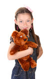 Portrait of beautiful little girl with toy bear Royalty Free Stock Photography