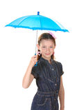 Portrait of beautiful little girl with umbrella. Isolated on white Stock Photo
