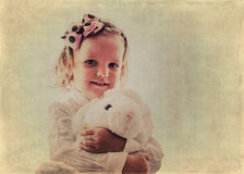 Portrait of beautiful little girl in vintage style. The image is stock photo