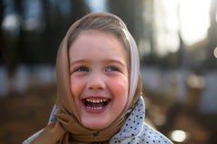 Portrait of   beautiful little girl wearing   headscarf Stock Image