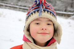 Portrait of beautiful little girl in the winter. stock photos