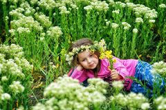 Portrait of a beautiful little girl in a wreath of daisies royalty free stock photo