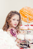 Portrait of beautiful little lady posing in studio Royalty Free Stock Photos