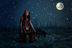 Portrait of a beautiful little Red Riding Hood. On a gray background Royalty Free Stock Photography
