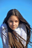 Portrait of a beautiful long-haired teen girl Stock Photos