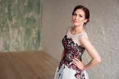 Portrait of Beautiful luxurious female model with medium brown hair in a long fashinable dress standing in the room. Stock Images