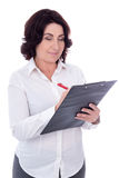 Portrait of beautiful mature business woman with clipboard isola Stock Image