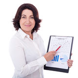 Portrait of beautiful mature business woman showing clipboard wi Stock Photos