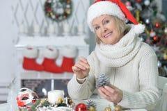 Woman making decorations stock image