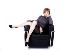 Portrait of a beautiful mature woman with short hair Royalty Free Stock Photography