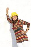 Portrait happy mature woman colourful Stock Photo
