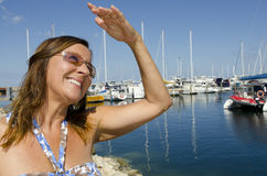 Portrait Beautiful mature woman in yacht harbour Royalty Free Stock Photos