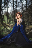 Portrait of beautiful medieval lady in fairy forest. Fairy tale lady in dark dress on forest glade Royalty Free Stock Photography
