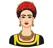 Portrait of the beautiful Mexican woman in  ancient  clothes. Boho chic, ethnic, vintage. Royalty Free Stock Image