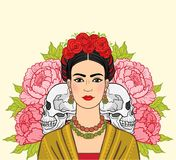 Portrait of the beautiful Mexican woman in ancient clothes, human skulls. A background - the stylized roses. Boho chic, ethnic, vintage. Vector illustration Royalty Free Illustration