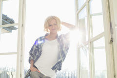 Portrait of beautiful mid-adult woman at home Stock Photos