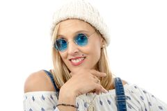 Portrait of a beautiful middle-aged woman with sunglasses Stock Photo