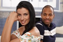 Portrait of beautiful mixed race couple smiling Royalty Free Stock Photography