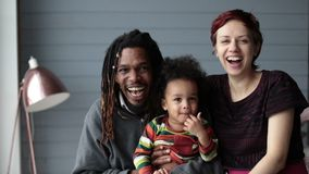 Portrait of beautiful mixed race family smiling stock footage