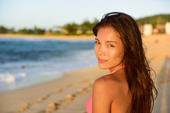 Portrait of beautiful mixed race woman on beach Royalty Free Stock Photography