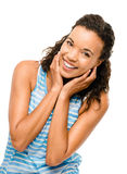 Portrait Beautiful mixed race Woman Smiling isolated on white ba Stock Images