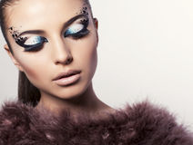 Portrait of beautiful model with bright eyes makeup Royalty Free Stock Photo