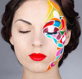 Portrait of a beautiful model with bright make up Royalty Free Stock Image