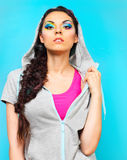 Portrait of a beautiful model with creative dynamic multicolor m Royalty Free Stock Images
