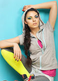 Portrait of a beautiful model with creative dynamic multicolor m Stock Images