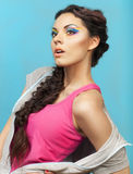 Portrait of a beautiful model with creative make up Royalty Free Stock Image