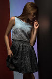 Portrait of beautiful model in fashion clothes Stock Photography