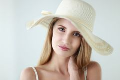 Portrait of beautiful model in hat ,isolated on Stock Photos
